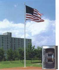 35' - 1 PC. Commercial Internal Halyard Winch Flag Pole - Product Image