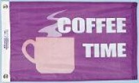 "12"" X 18"" Coffee Time Flag - Product Image"