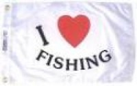 "12"" X 18"" I Love Fishing Marine Nylon Flag - Product Image"