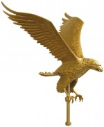 12 in. Gold Bronze Eagle Flag Pole Ornament - Product Image