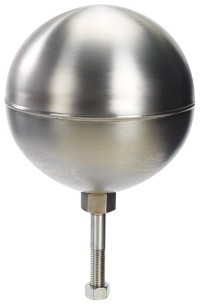 4 in. Stainless Steel Flag Pole Ball Ornament  - Product Image